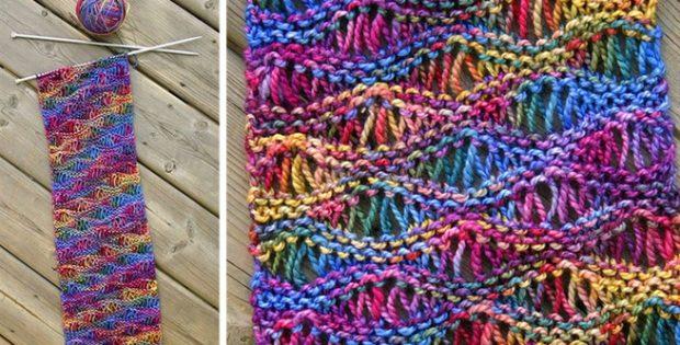 Beautiful Sea Foam Knitted Scarf [FREE Knitting Patter