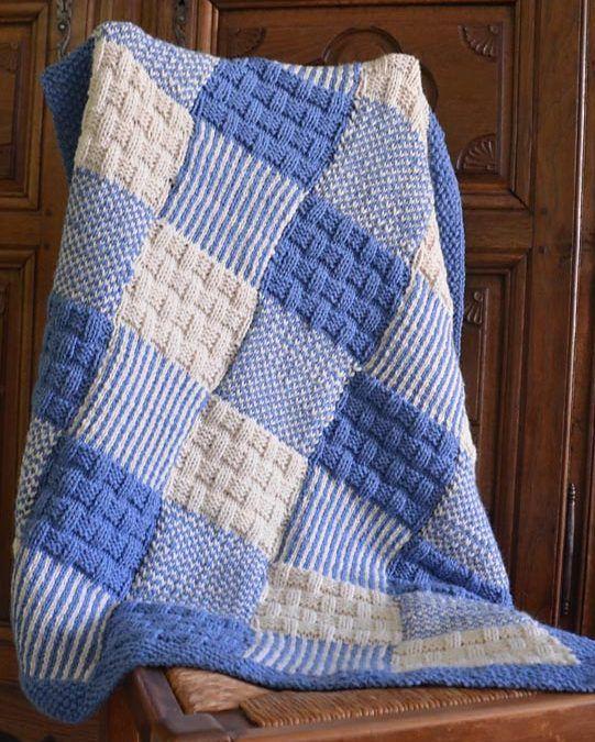 Free Knitting Pattern for Patchwork Baby Blanket | Modèles de .