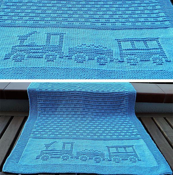 Free Knitting Pattern for Choo Choo Baby Blanket - Baby blanket .