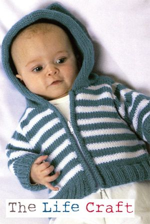 Simple Striped Hoodie | Baby boy knitting patterns, Baby sweater .
