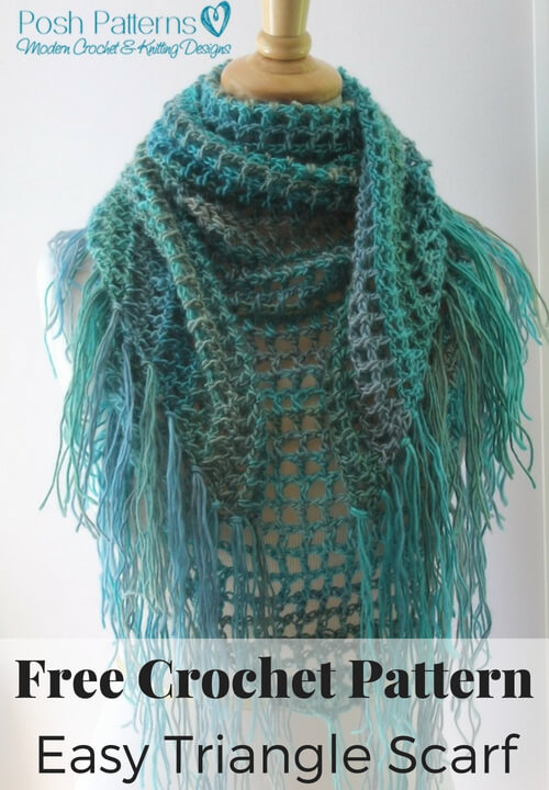Easy Triangle Scarf Crochet Patte