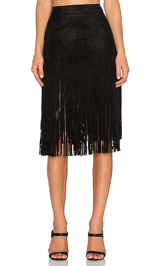 J.O.A. Suede Fringe Skirt in Black   REVOL