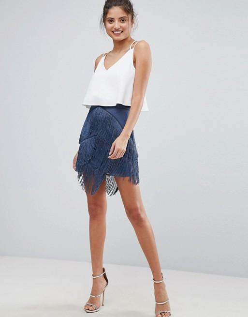 ASOS fringe mini skirt   AS