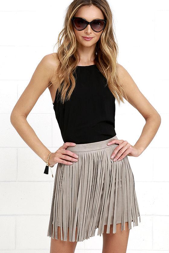 BB Dakota Pearl - Fringe Skirt - Taupe Skirt - Mini Skirt - $71.