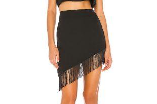 superdown Lexie Fringe Skirt Set in Black | REVOL