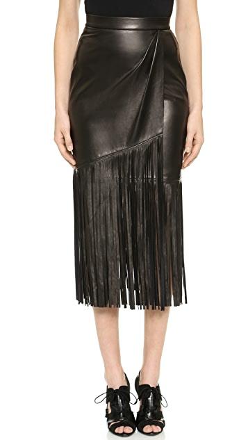 Tamara Mellon Leather Fringe Skirt   SHOPB