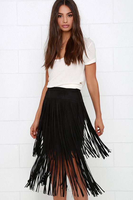 Black Skirt - Fringe Skirt - High-Waisted Skirt - $46.