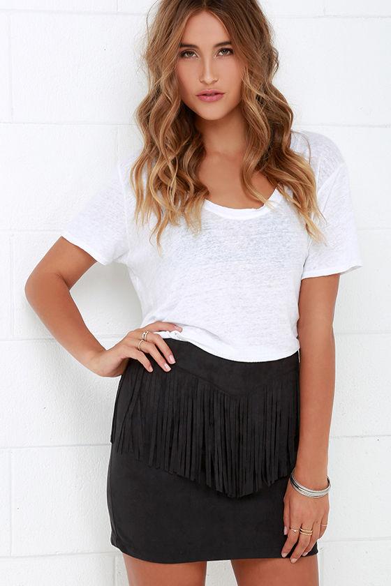 Fringe Skirt - Black Skirt - Suede Skirt - Mini Skirt - $44.
