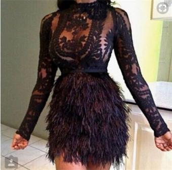Black Lace Fringe Skirt Dress   Fur skirt, Fashion, Feather dre