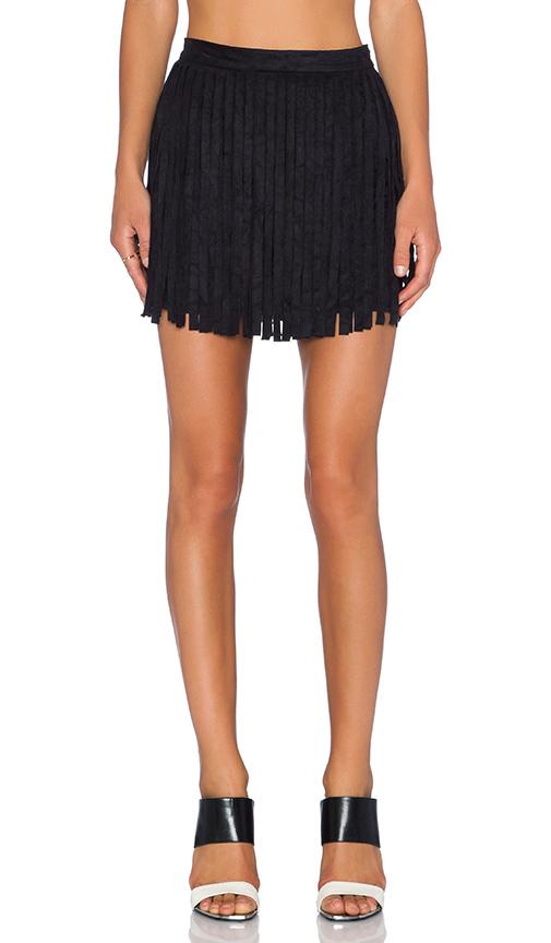 BB Dakota Barton Fringe Skirt in Black   REVOL