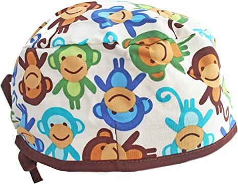 Amazon.com: Hiphopville Funky Monkey Brown Blue Green Scrub Cap .