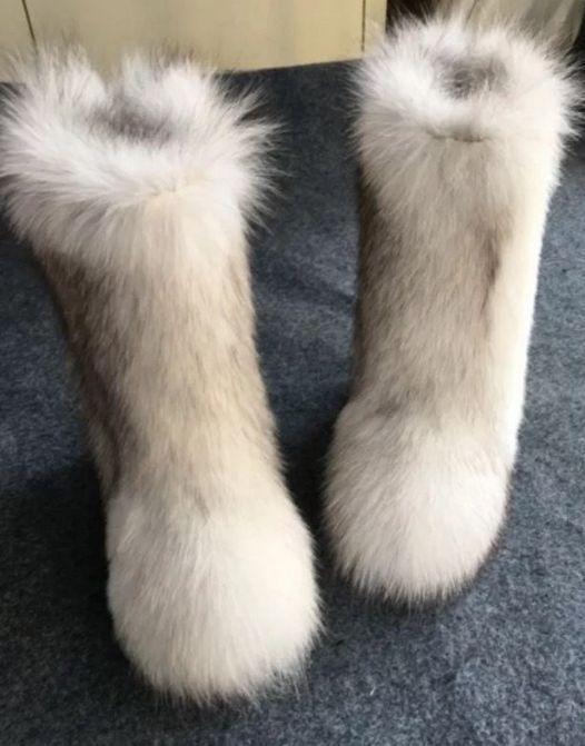 Women Plushed Luxury Eskimo White Fox Fur Boots Long Bootleg .