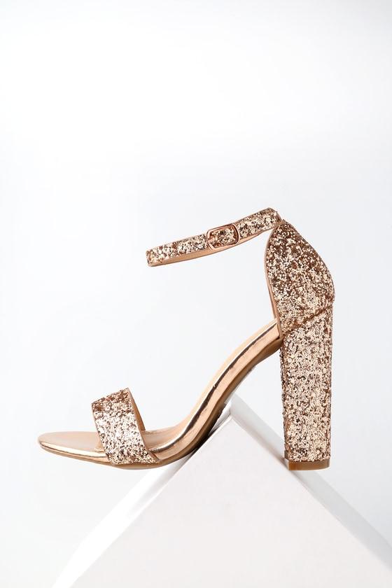 Shiny Glitter Heels - Rose Gold Heels - Party Sho