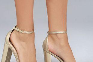 Sexy Gold Heels - Ankle Strap Heels -Vegan Leather Hee