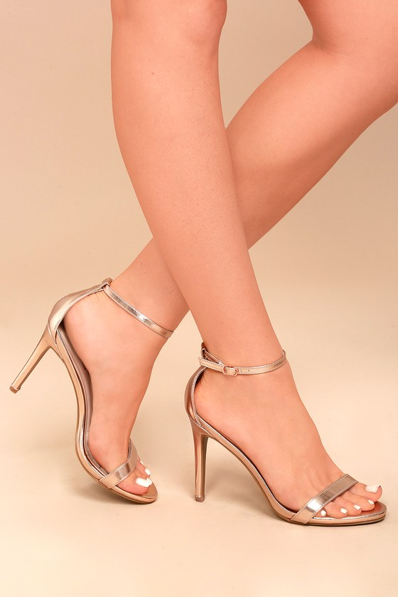 Loveliness Rose Gold Ankle Strap Heels - $31 : Fashion at Lulus.c