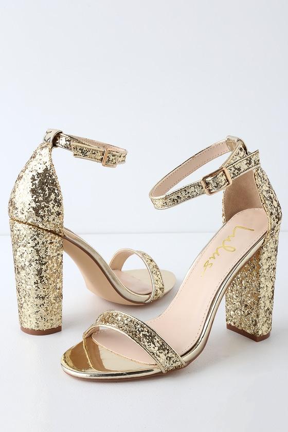 Stunning Glitter Heels - Gold Heels - Ankle Strap Hee