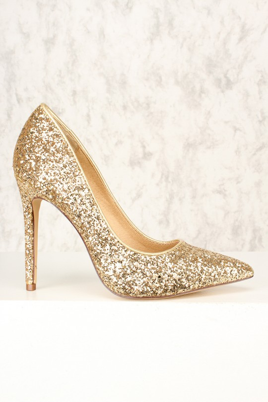Sexy Gold Sparkle Pointy Toe Single Sole Pump High Hee