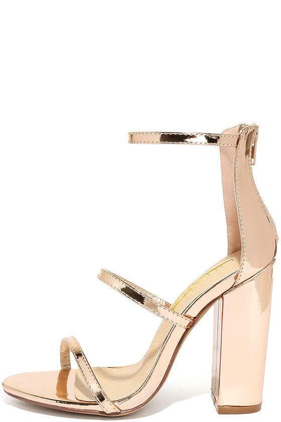 Lovely Rose Gold Heels - Ankle Strap Heels - Block Heels - $31.