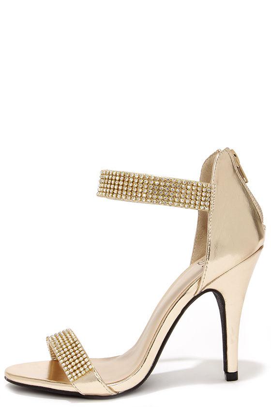 Lovely Gold Heels - Rhinestone Heels - Single Sole Heels - $32.