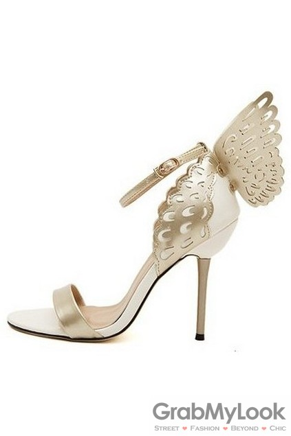 White Gold Patent Leather Butterfly Stiletto High Heels Pump Women .