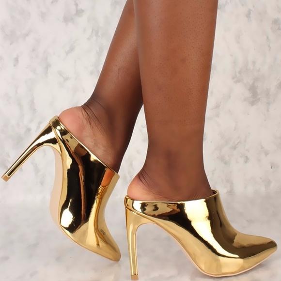 Shoes | Metallic Gold Pointy High Heels | Poshma