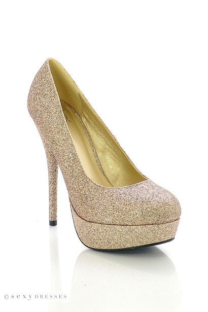 """Womens 5"""" Glittery Platform Stiletto Gold High Heel Shoes (With ."""