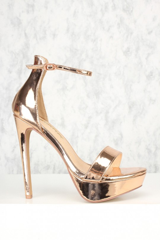 Sexy Rose Gold Open Toe Ankle Strap Platform Stiletto High Hee