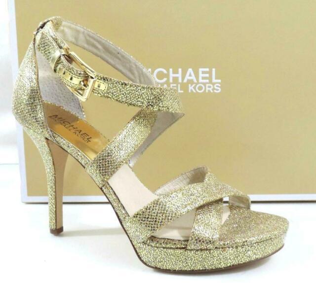 Michael Kors Evie Dress Platform High Heel Strappy Sandals Gold .