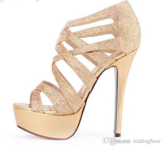 Glitter Women High Heels Gold Dress Sandals Crossover Strappy .
