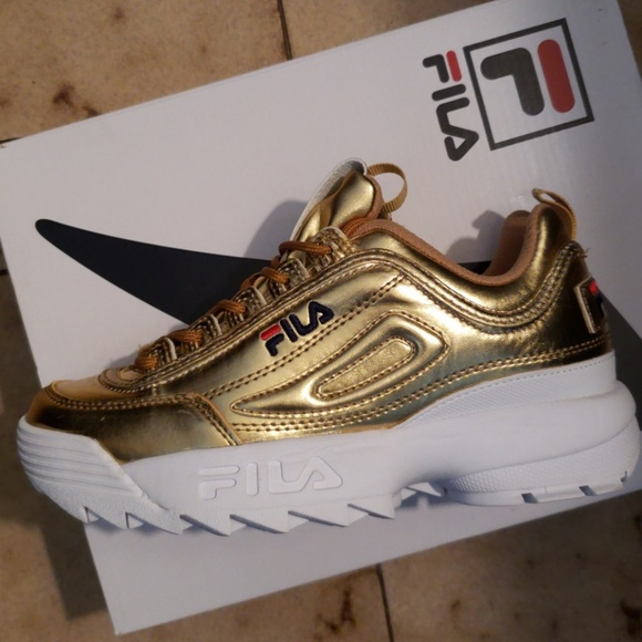 Fila Shoes   Gold Sneakers   Poshma