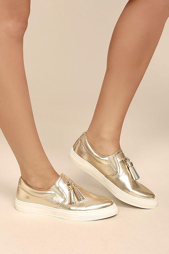 Trendy Slip-On Sneakers - Gold Sneakers - Vegan Leather Sneakers .