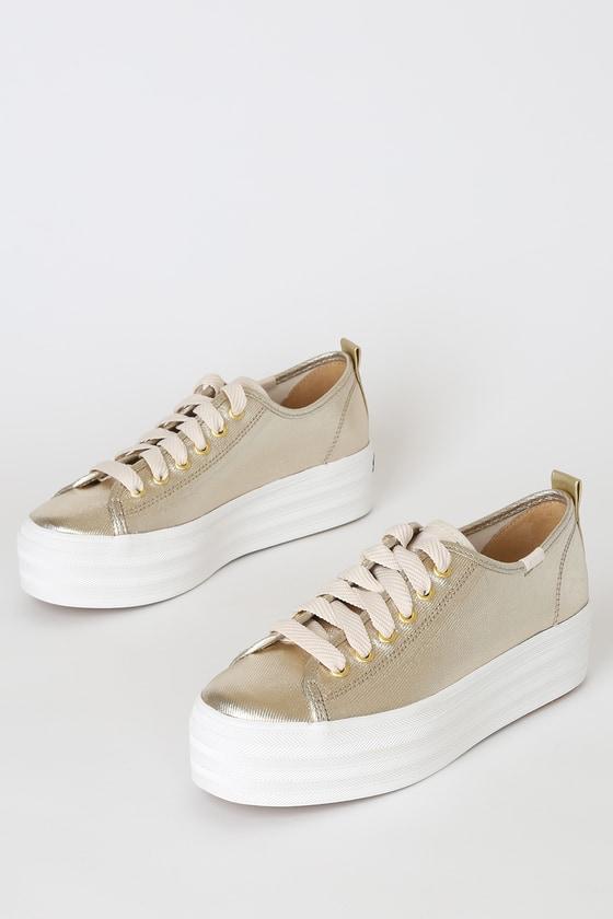 Keds Triple Up Sneakers - Metallic Gold Shoes - Platform Sneake