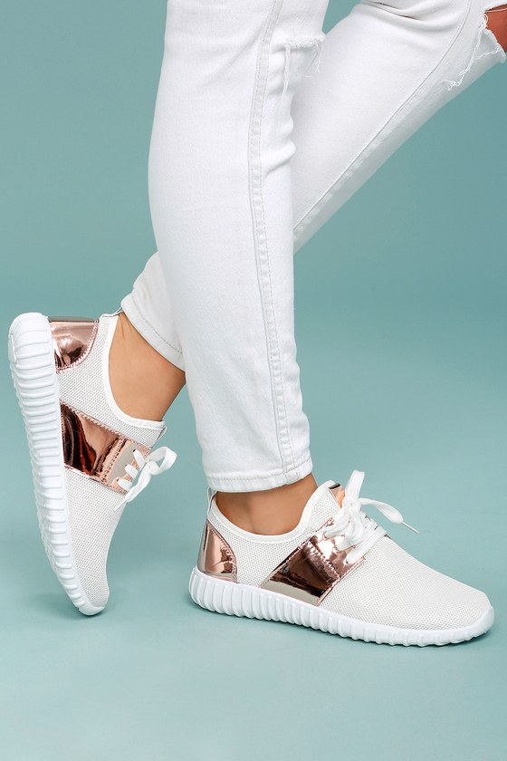 White Knit Sneakers - Rose Gold Sneakers - Chic Sneakers - White .