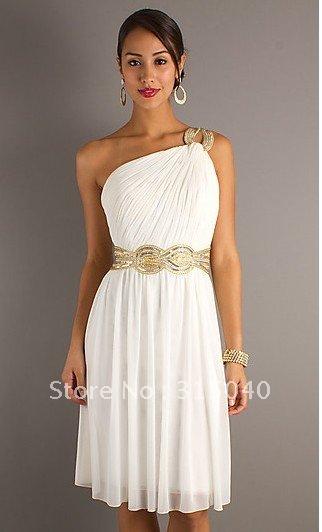 One Shoulder Grecian Short Dress|short a line dresses|short blue .