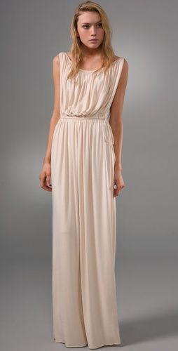Grecian Long Dress | Grecian dress, Blush bridesmaid dresses .