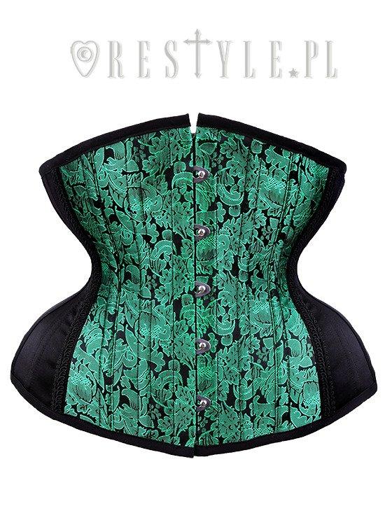 "Green corset, hourglass shape, sturdy ""CU4 Green Brocade Underbust ."
