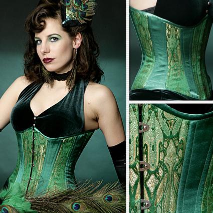 Emerald Green Brocade Slim Corset – Lucy's Corset