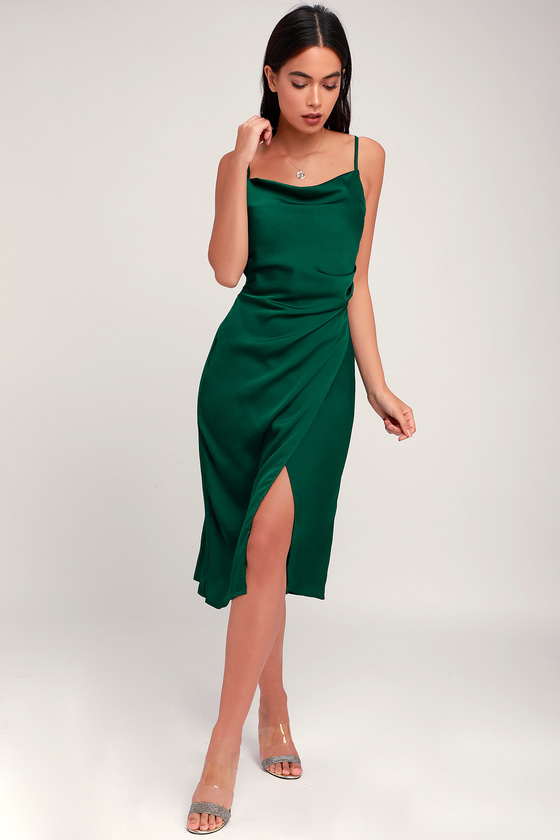 Sleek Forest Green Dress - Satin Dress - Midi Dress - Dre