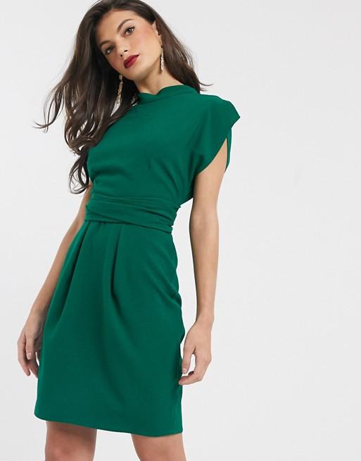 Closet London tie back mini dress in emerald green   AS