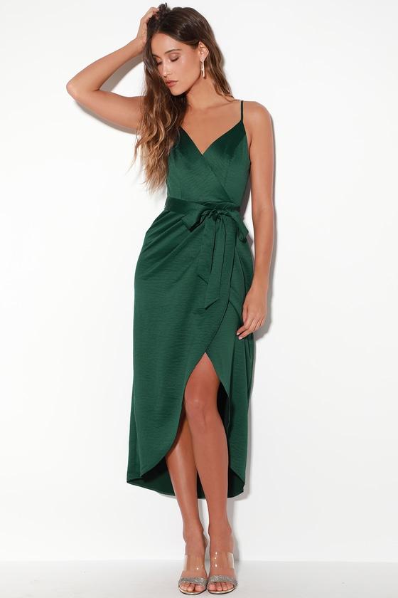 Lovely Forest Green Dress - Satin Dress - Midi Dress - Wrap Dre