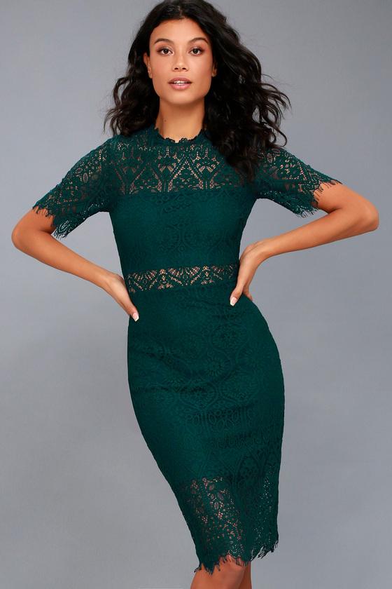 Chic Forest Green Dress - Lace Dress - Sheath Dre