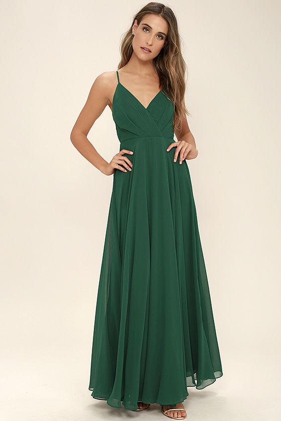 Lovely Dark Green Dress - Maxi Dress - Gown - Bridesmaid Dress .