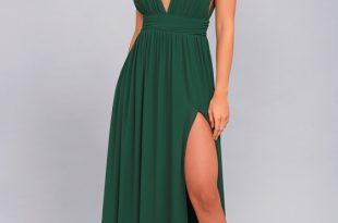 Forest Green Gown - Maxi Dress - Sleeveless Maxi Dre