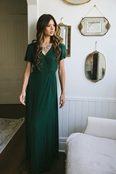 Corinne Hunter Green Wrap Maxi Dress - Morning Lavend