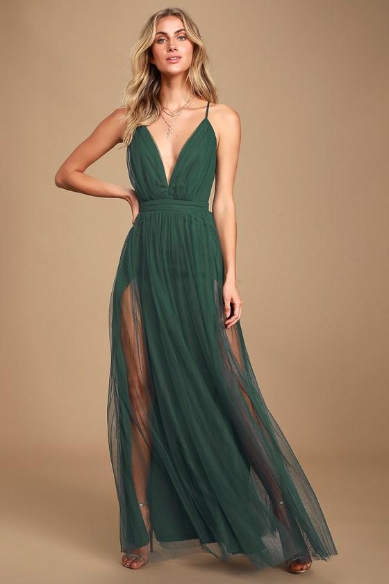 Sexy Green Maxi Dress - Tulle Maxi Dress - Leg Slit Maxi Dre