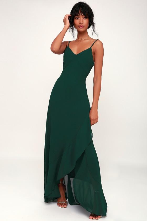 Lovely Maxi Dress - Forest Green Maxi Dress - Ruffled Maxi Dre