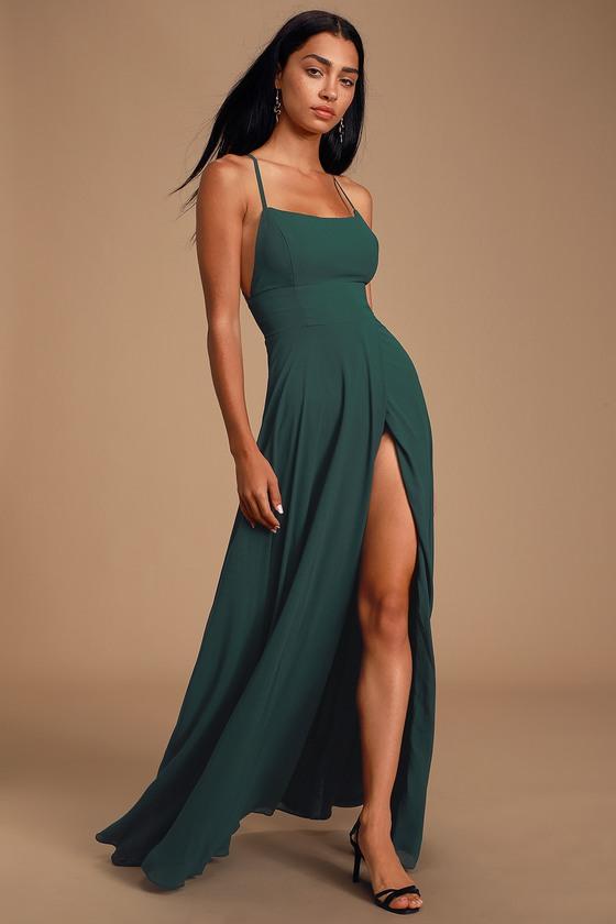 Forest Green Maxi Dress - Backless Maxi Dress - Green Go