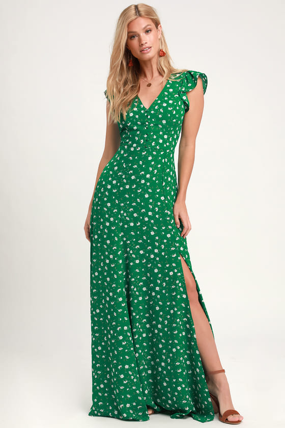 Lovely Green Floral Print Dress - Backless Maxi Dress - Ma