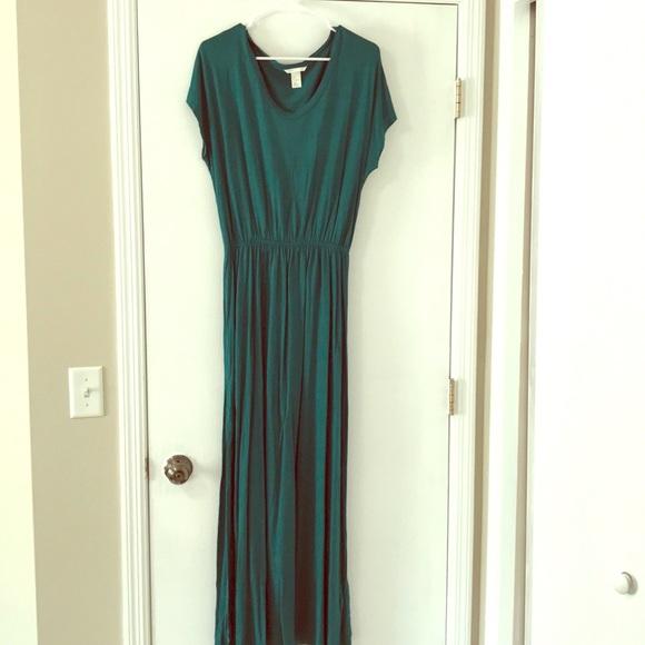 H&M Dresses | Emerald Green Maxi Dress With Side Slits | Poshma