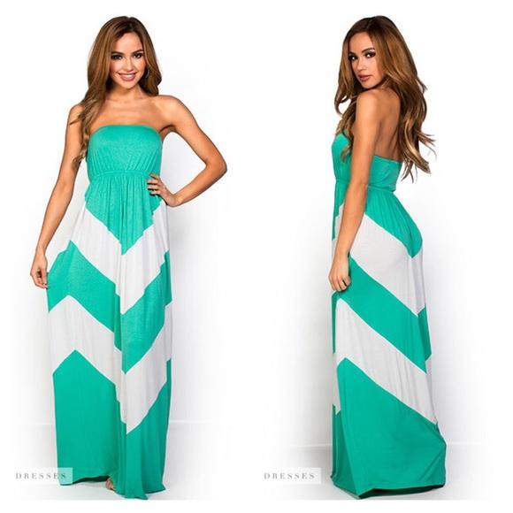 Dresses | Mint Green White Strapless Chevron Maxi Dress | Poshma